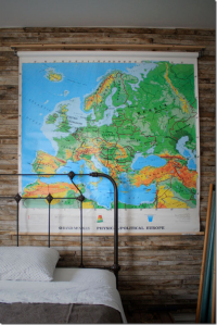 Map Hanging in Bedroom