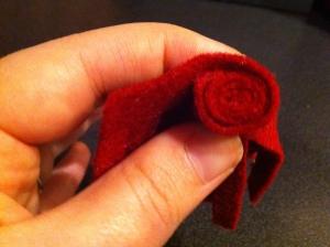 rolled felt flower